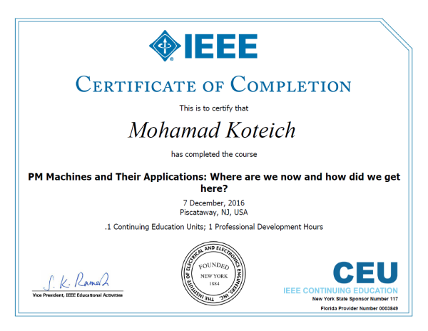 Continuing Education | Mohamad Koteich